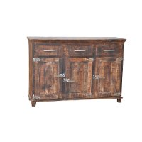 Brown Reclaimed Wood 3-Door Sideboard