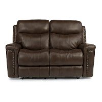 Brown Leather-Match Power Reclining Loveseat - Grover Collection