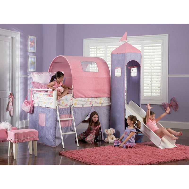 Castle Twin Size Tent Bunk Bed With Slide Princess