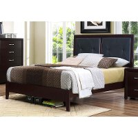 Contemporary Espresso and Black Full Upholstered Bed - Edina