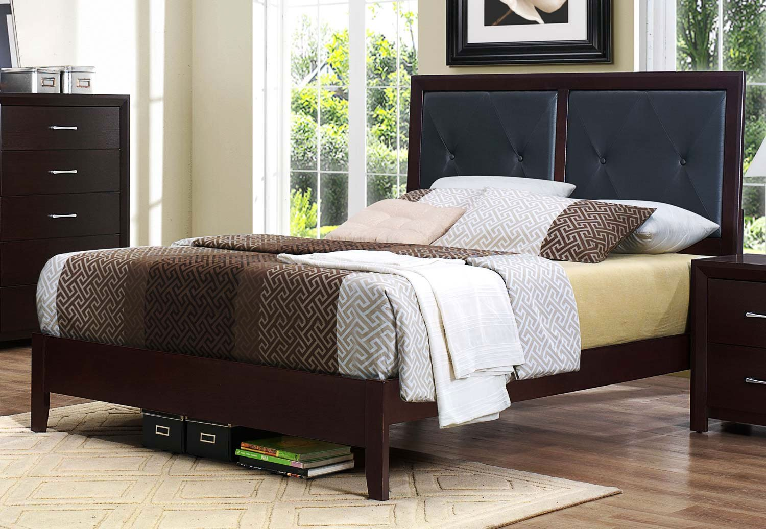 espresso & black contemporary queen size upholstered bed - edina | rc willey furniture store