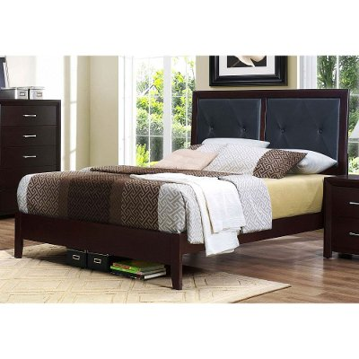 Contemporary Espresso and Black King Upholstered Bed - Edina