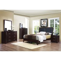 Contemporary Casual Espresso 6 Piece Queen Bedroom Set - Edina