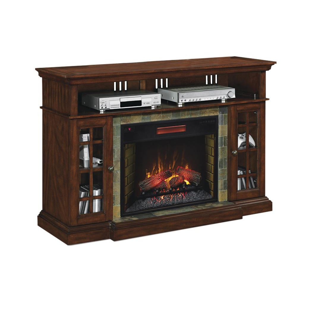 ... Cherry Brown Electric Fireplace TV Stand