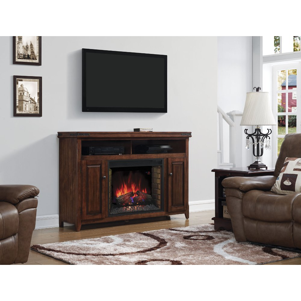 58 inch infrared cherry brown fireplace and tv stand rc willey
