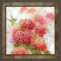 Hummingbird and Floral Garden I Framed Wall Art