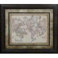 Johnson's Map of the World Framed Wall Art