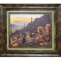 Sonoran Sunset with Cacti Framed Wall Art