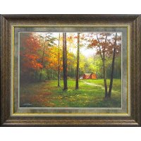 Red Barn and Trees Framed Wall Art