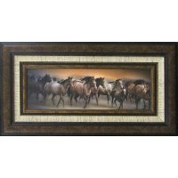 Oncoming Storm Running Horses Framed Wall Art