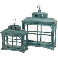 Large 24 Inch Teal Wooden Lantern