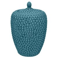 19 Inch Turquoise Ceramic Jar With Lid