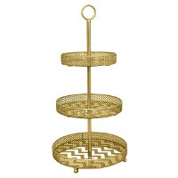 Gold Metal Mirrored 3-Tier Tray