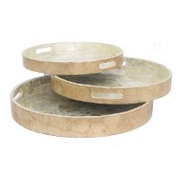 17 Inch Round Wood Tray with Cut Out Handles