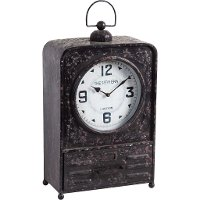 Rustic Metal Table Top Clock with Drawer
