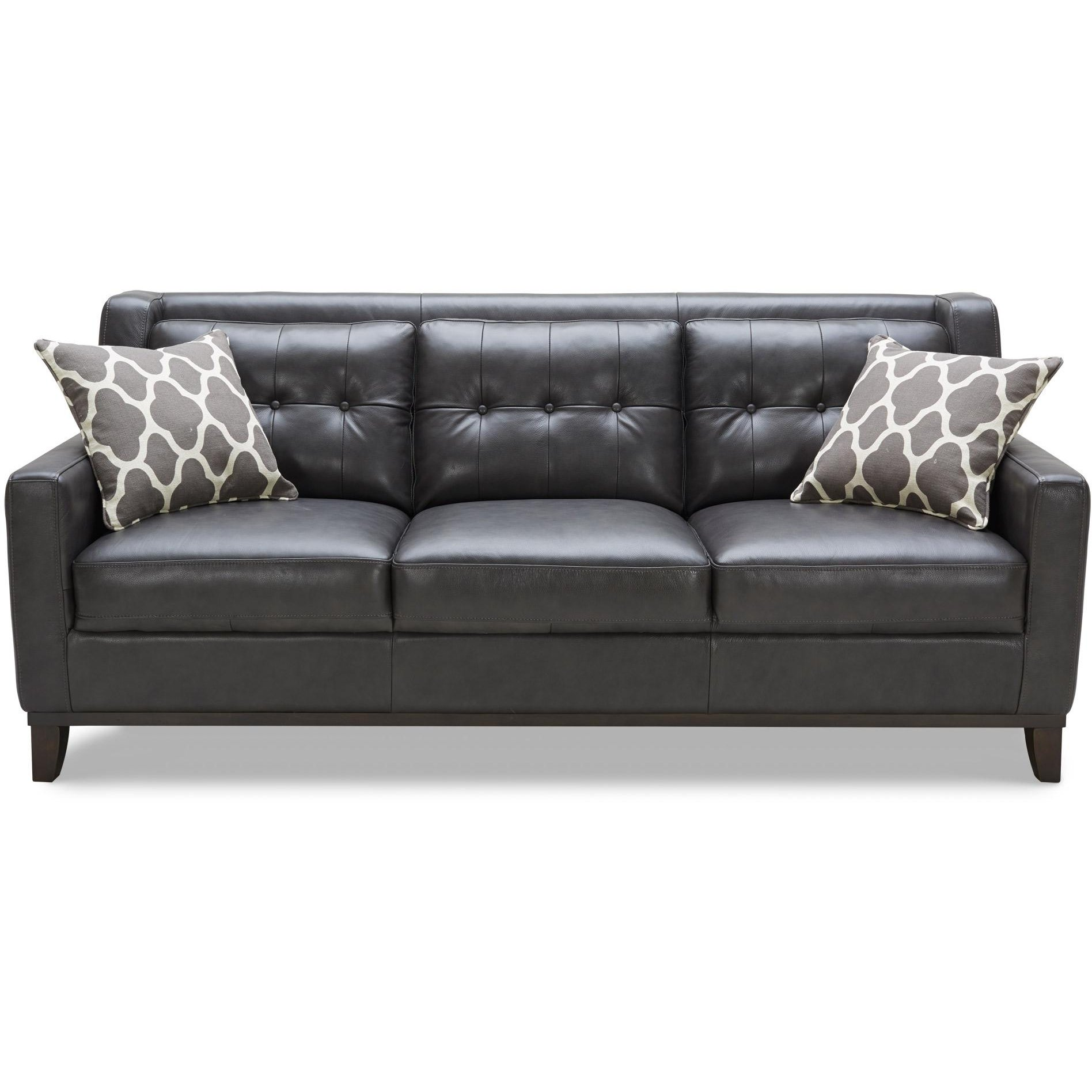 Contemporary Charcoal Leather Sofa Nigel
