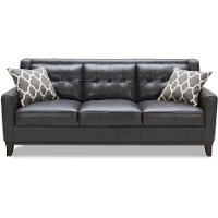 Contemporary Charcoal Leather Sofa - Nigel