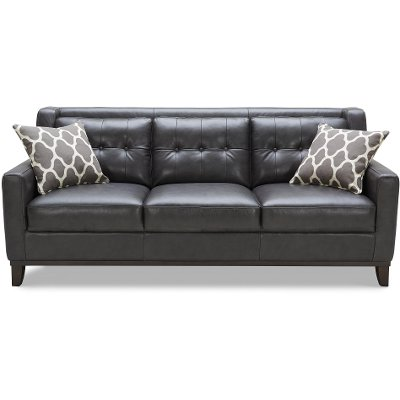 Contemporary Charcoal Leather Sofa Nigel RC Willey Furniture Store