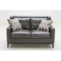 Contemporary Charcoal Leather Loveseat - Nigel