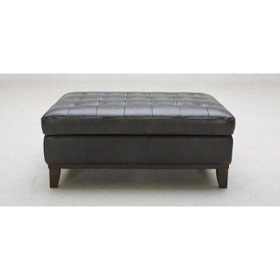 Contemporary Charcoal Gray Leather Ottoman - Nigel ... - Buy A Soft And Beautiful Leather Ottoman At RC Willey
