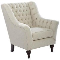 Linen Button Tufted Transitional Wing Chair - Taj Mahal