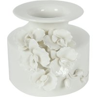 6 Inch White Ceramic Vase with Floral Accents