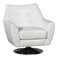 Modern White Swivel Barrel Chair - Ontario
