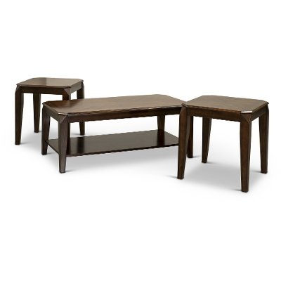 contemporary walnut 3 piece coffee table set - docila collection