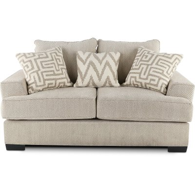 Casual Contemporary Oatmeal Loveseat - Renegade