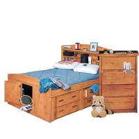Rustic Cinnamon Full Storage Bed with 2 Under-Bed Dressers - Palomino