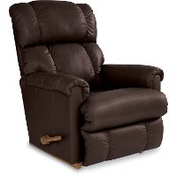 10-512/LB133477 Espresso Brown Leather-Match Manual Reclina-Rocker Recliner - Pinnacle