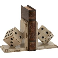 Wood Dice Bookend Pair
