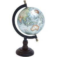 10 Inch Metal and Wood Table Top World Globe