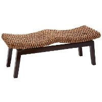 46 Inch Wood Water Hyacinth Bench
