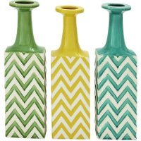 Assorted Ceramic 17 Inch Vase with Chevron Pattern