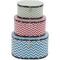 10 Inch Round Wood and Vinyl Chevron Patterned Box