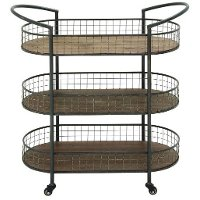 Metal and Wood 3 Tier Cart on Casters