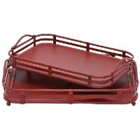 17 Inch Distressed Red Metal Tray
