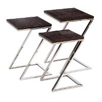 Metal and Wood Z Shaped Nesting Tables-Set of 3