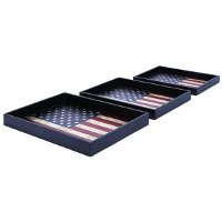 21 Inch Wood and Leather Flag Tray