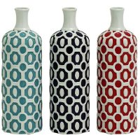 Assorted 13 Inch Ceramic Vase With Bold Pattern