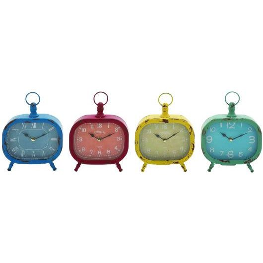 Assorted 8 Inch Distressed Metal Desk Clock