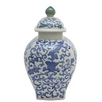 Blue and White Ceramic Urn