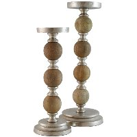 15 Inch Wood and Metal Pillar Candle Holder