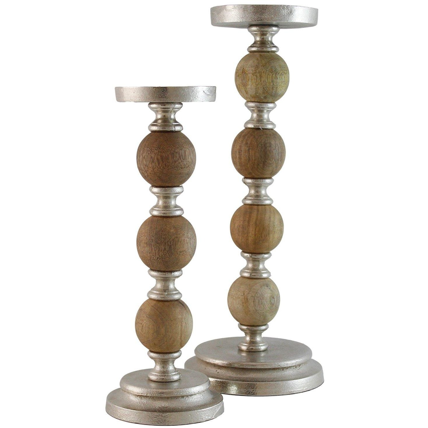 12 Inch Wood and Metal Pillar Candle Holder | RC Willey Furniture Store