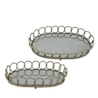 18 Inch Metal Mirrored Tray