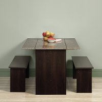 Brown 3 Piece Dining Set with Benches - Beginnings