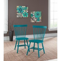 Blue Spindle Back Chair Pair - Cottage Road
