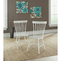 Set of 2 White Spindle Back Chairs - Cottage Road