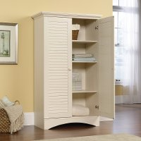 Antiqued White Storage Cabinet - Harbor View